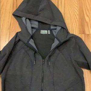 Grey and black trim zip up hoodie.
